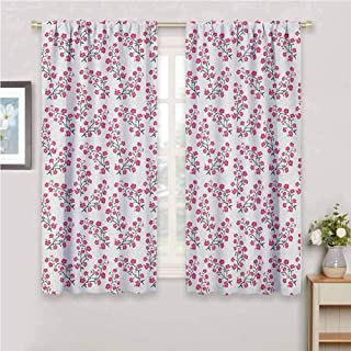 Jinguizi Short Curtain Sakura Bloom with Blossoming Flowers Branches Twigs Abstract Floral Arrangement Bedroom Curtains Pink Black White 108 x 72 inch