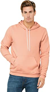 Bella Canvas Men's Poly-Cotton Fleece Pullover Hoodie, Peach, Small