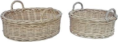 CC Home Furnishings 19.65'' Set of 2 White Rattan Storage Round Trays