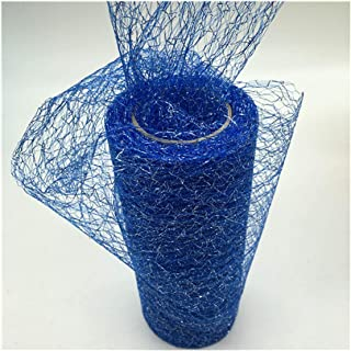 15cm10Y Gold Wire Organza Sheer Gauze Element Table Runner Tulle Roll Spool Craft Party Wedding Decoration,Royal Sliver