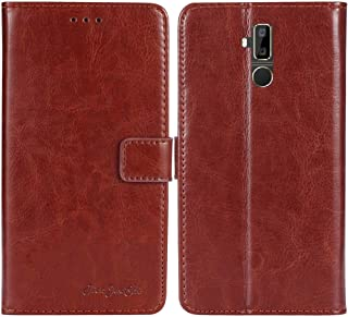 TienJueShi Brown Book Stand Retro Flip Leather Protector Phone TPU Silicone Case for Oukitel K7 Pro 6 inch Gel Cover Etui Wallet