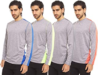 Dri-Fit Long Sleeve T Shirts for Men-4 Pack- Moisture Wicking, Quick Dry Tees