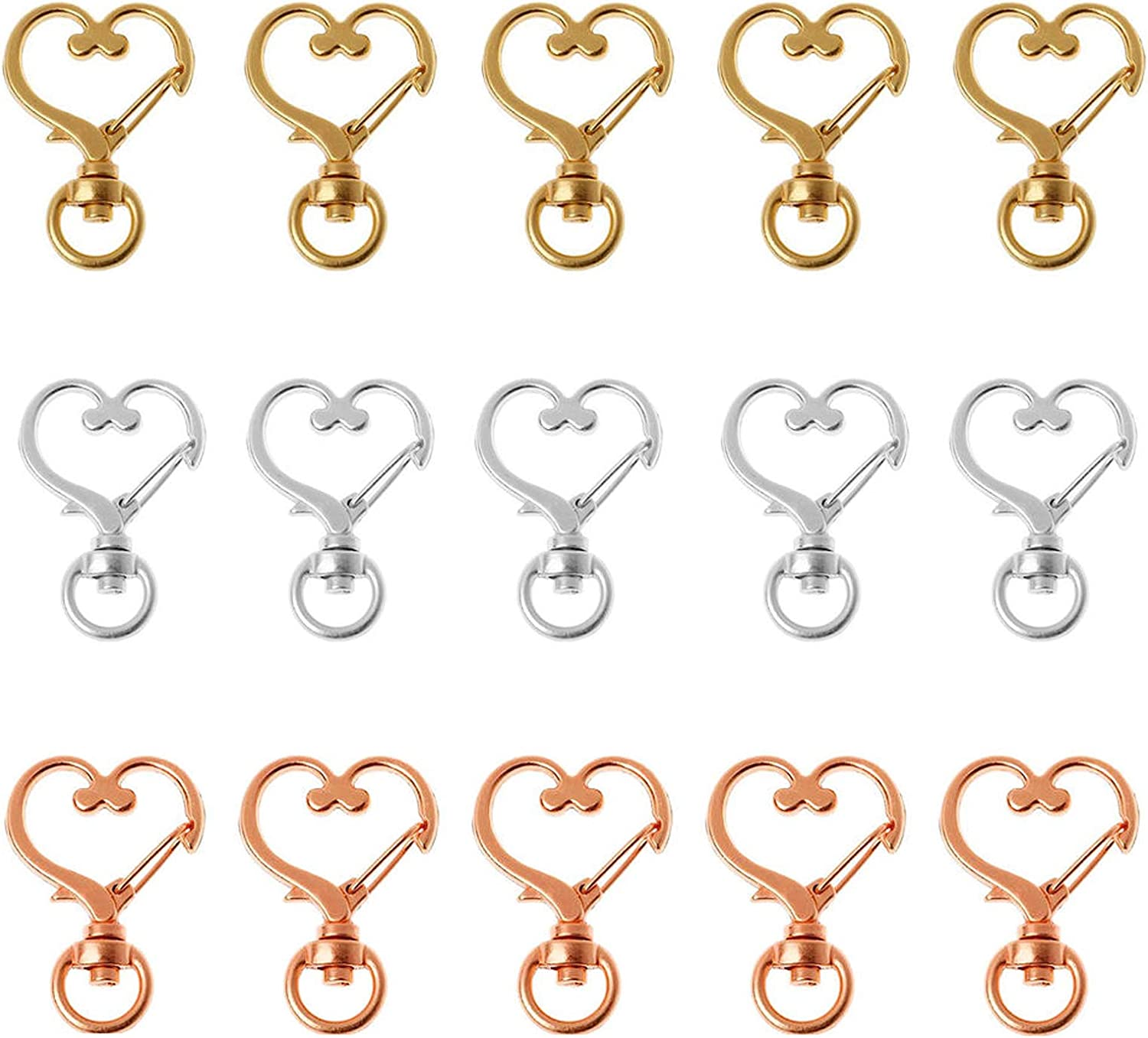 IETONE 30 Pieces Metal Year-end gift Swivel Lobster Clasp Heart Claw Popular Shape Sna