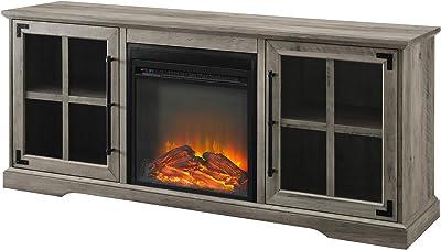 "Walker Edison Furniture Company WE Furniture 60"" 2 Door Fireplace Console - Grey Wash"