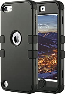 ULAK iPod Touch 7 Case, 3 in 1 Hard PC Case with Shockproof Silicone Interior Heavy Duty High Impact Dual Layer Protective Case for Apple iPod Touch 7th/6th/5th Generation (Black)