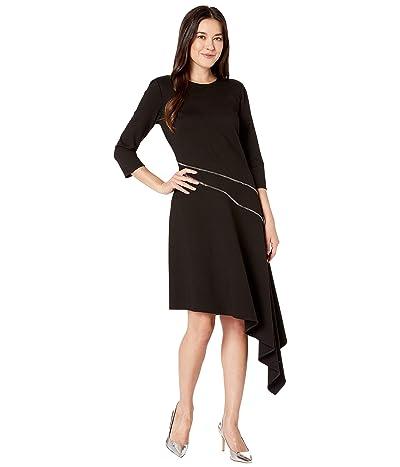 Vince Camuto Ponte Asymmetrical Hem Dress w/ Silver Zipper Trim (Rich Black) Women