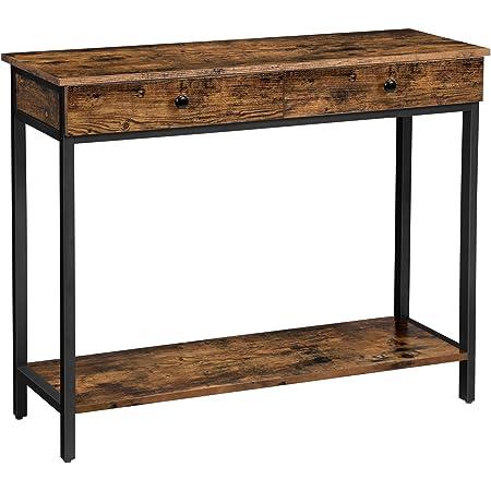 VASAGLE Table console, Table d'entrée, Bout de canapé, avec 2 tiroirs, cadre en acier, stable, pour entrée, chambre, salon, style industriel, Marron Rustique et Noir LNT010B01