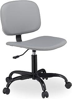 Relaxdays Silla Oficina con Ruedas, Ajustable, Ordenador, Escritorio, PC, Estudio, Cuero Sintético, 88 x 60 cm, Gris, 1 Ud