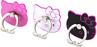 CellDesigns Hello Kitty Cell Phone Ring Grip Stand Holder Car Mounts (Black, Pink, Silver/Pink Rim)