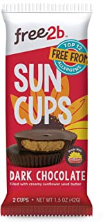 Free2b Foods Dark Chocolate Sun Cups Gluten-Free, Dairy-Free, Nut-Free and Soy-Free - 2-Cups (Pack of 12)