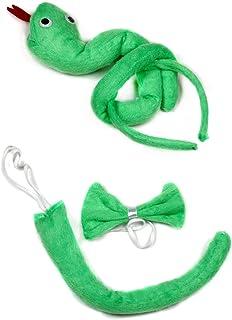 Verde serpiente diadema pajarita cola 3pc disfraz para niños cumpleaños o fiesta