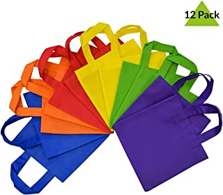 10x10 12 Pcs. Large Multi Color, Bright Neon Colors, Flat Reusable Gift Bags with Handles, Eco Friendly Tote Bags, Party Favor Bags for Kids Birthday Parties