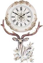 Fancy Elegant Ethnic Luxury Wall Clock W17H25 Inch European Home Decorative Stylish Silent Battery Operated Deer Design 3D...
