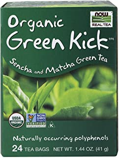 NOW Foods, Certified Organic Green Kick Tea, with Polyphenols, Premium Unbleached Tea Bags with No-Staples Design, No Added Colors, Preservatives, Flavors, or Sugars, 24-Count