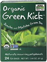 NOW Foods, Certified Organic Green Kick Tea, with Polyphenols, Premium Unbleached Tea Bags with No-Staples Design, No Adde...