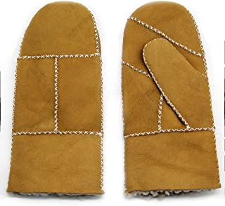 Women's Rugged Sheepskin Shearling Mitten Herringbone Leather Gloves Sherpa Fur Cuff Thick Wool Lined and Heated Warm for Winter Cold Weather Dress Driving Work Xmas Gifts, Camel M