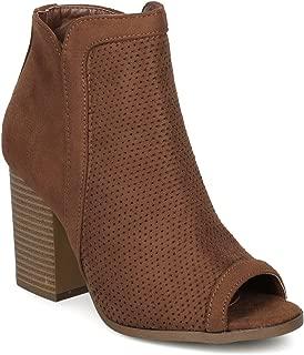 Alrisco Textured Faux Suede Peep Toe Block Heel Ankle Bootie HE86