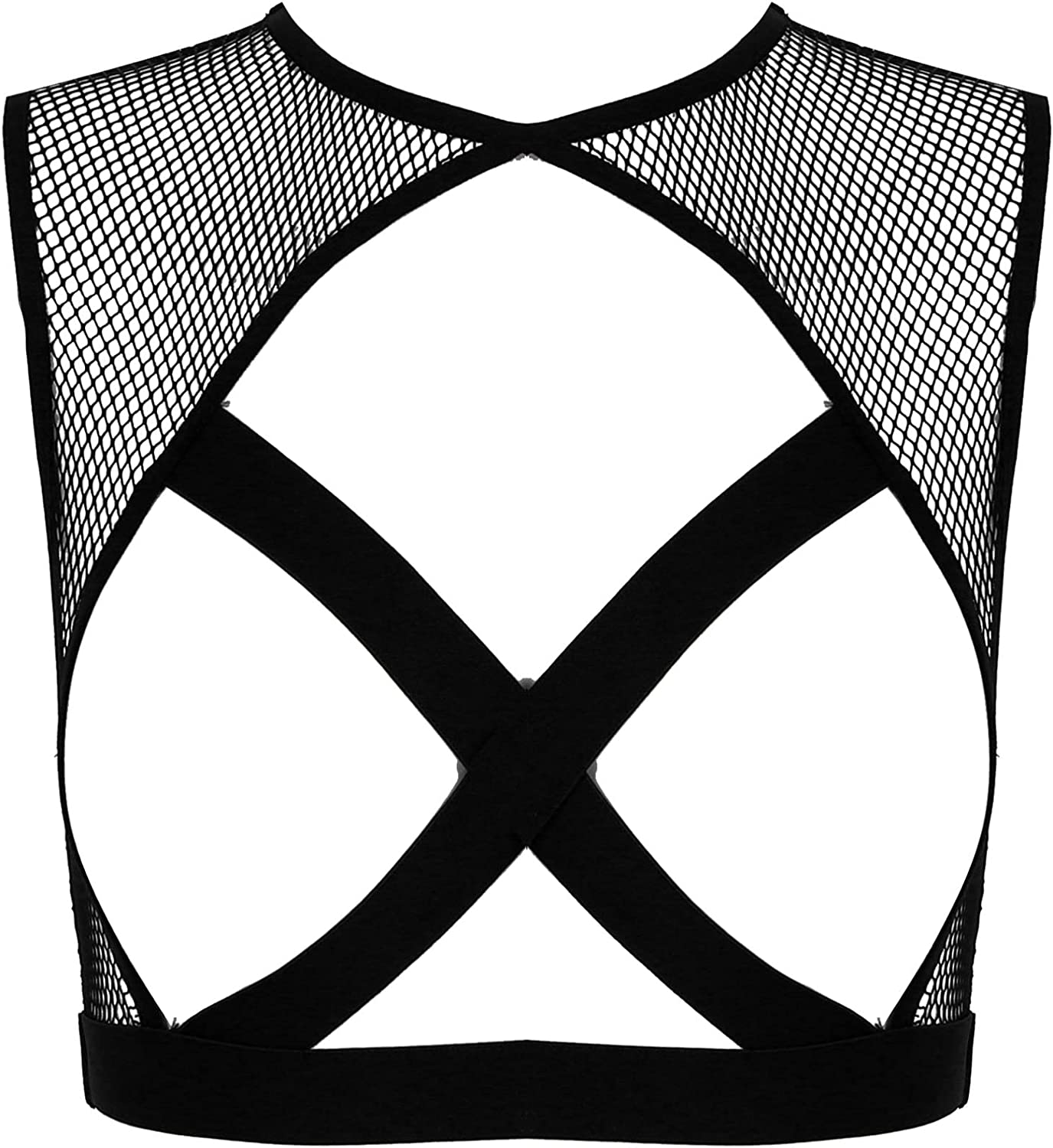 MSemis Woman's Fishnet See-Through store Bargain Tank Caged Top Out Hollow Bra