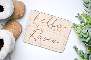 Hello My Name Is Baby Announcement Etched Wood Plaque Newborn Baby Name Baby Girl Reveal Wood Photo Prop
