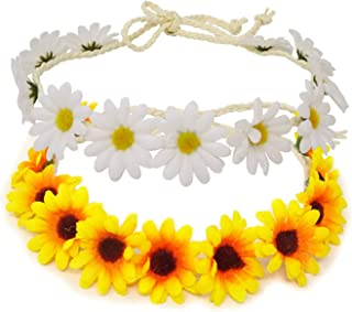Honbay 2PCS Fashion Flower Headband Sunflower Hair Wreath Festival Hair Band Bridal Headpiece (yellow+white)