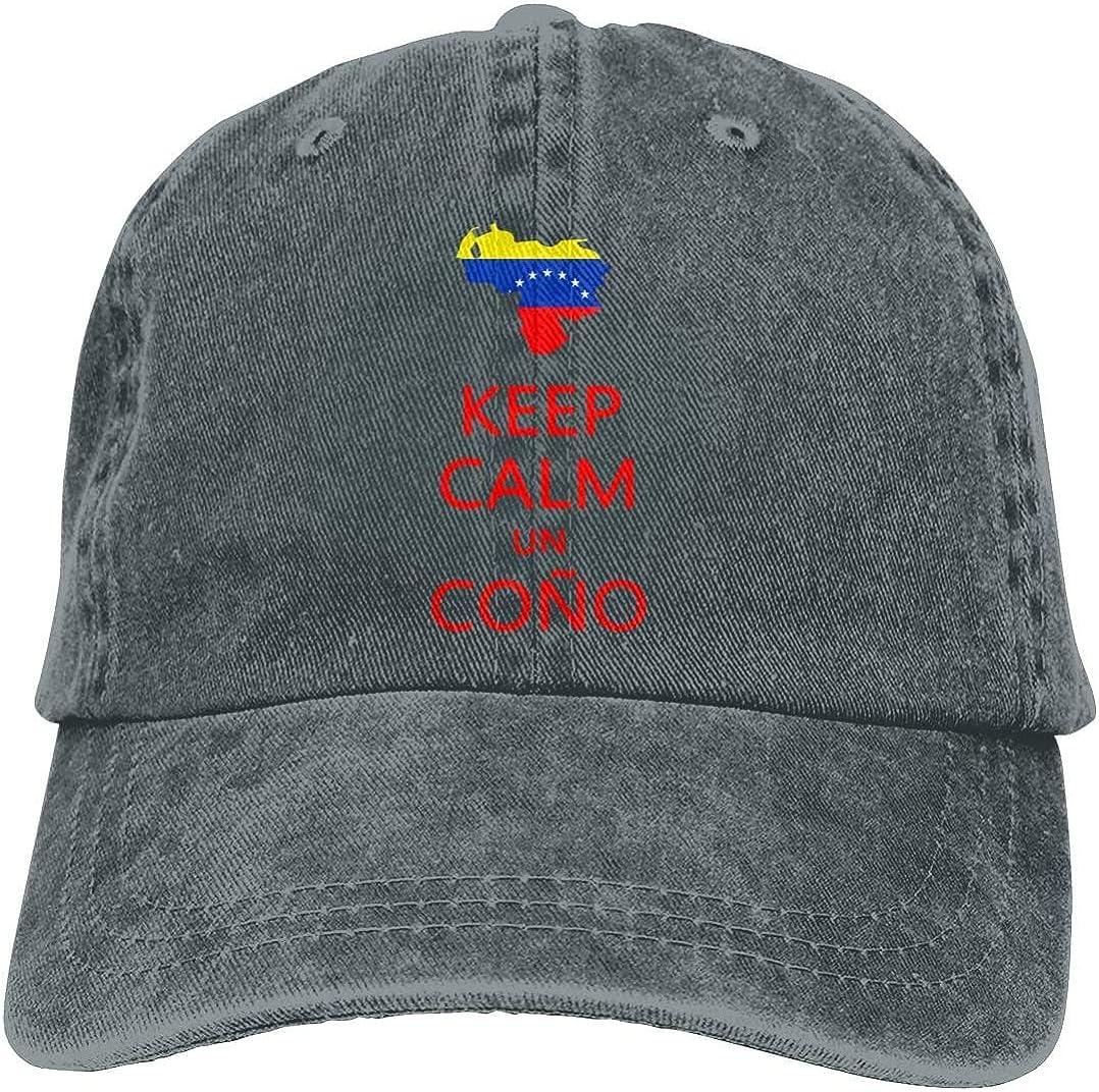 Keep Calm Un Cono SOS Venezuela Retro Adjustable Cowboy Denim Hat Unisex Hip Hop Black Baseball Caps Adjustable