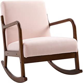 HOMCOM Upholstered Rocking Armchair with Wood Base and Linen Fabric Padded Seat for Living Room, Pink