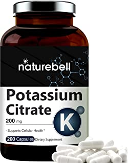 Maximum Strength Potassium Citrate Capsules, 200mg, 200 Counts, Strongly Support Vascular Health, No GMOs and Made in USA