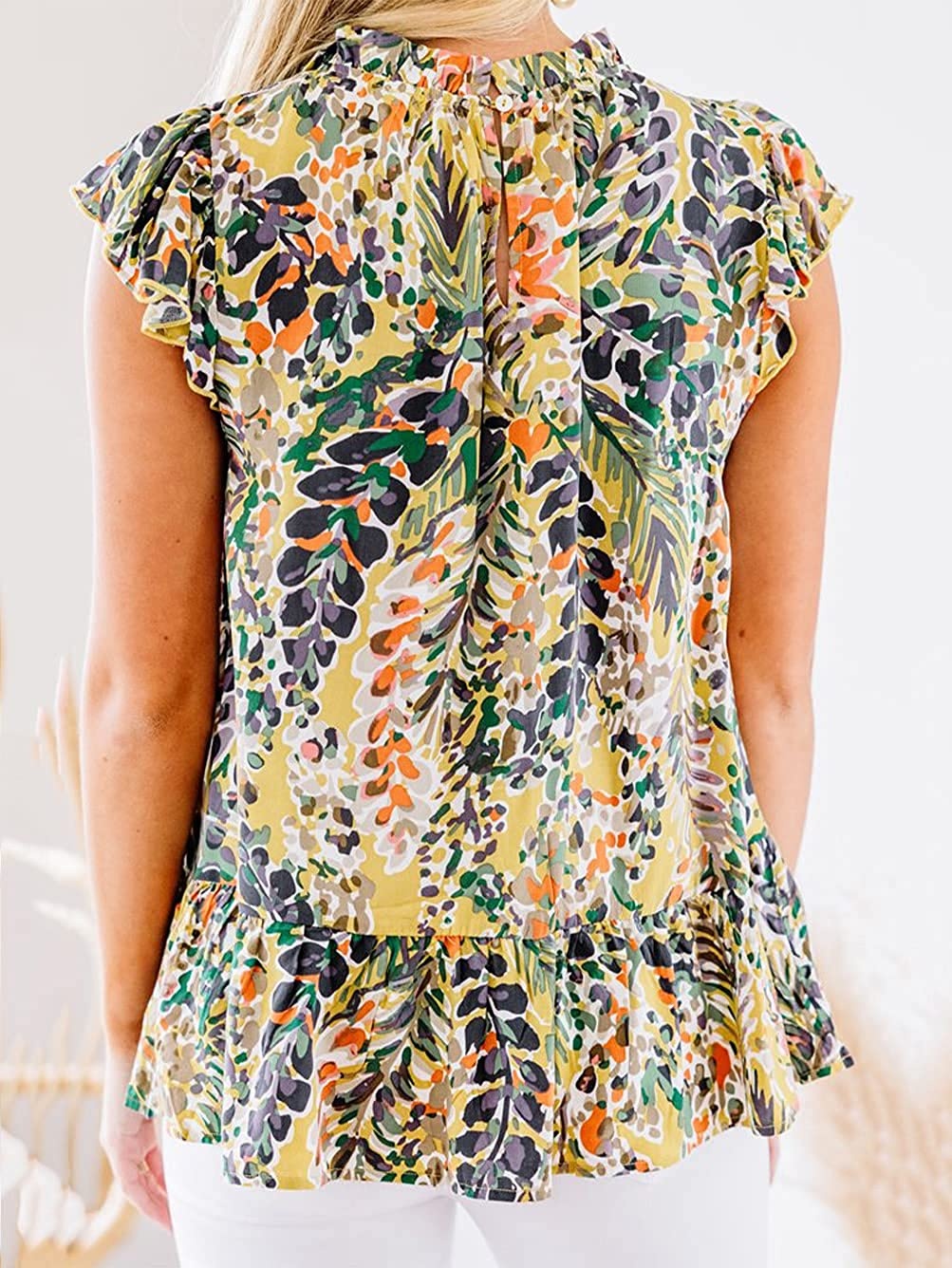 Famulily Womens Floral Tops Cap Sleeves High Ruffled Neckline Shirts Summer Cute Blouse