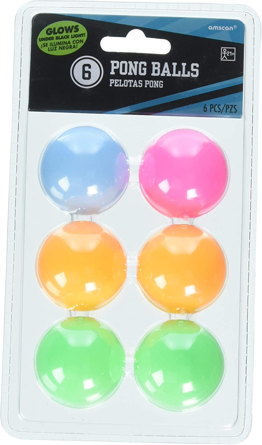 Amscan Neon Ping Pong Ball, One Size, Multicolor
