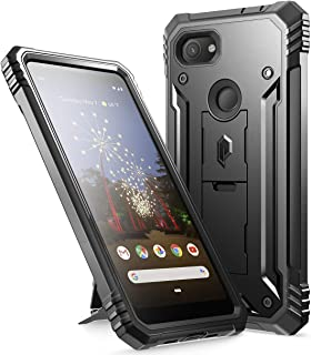 Google Pixel 3a Rugged Case with Kickstand, Poetic Full-Body Dual-Layer Shockproof Protective Cover, Built-in-Screen Protector, Revolution Series, Defender Case for Google Pixel 3a, Black