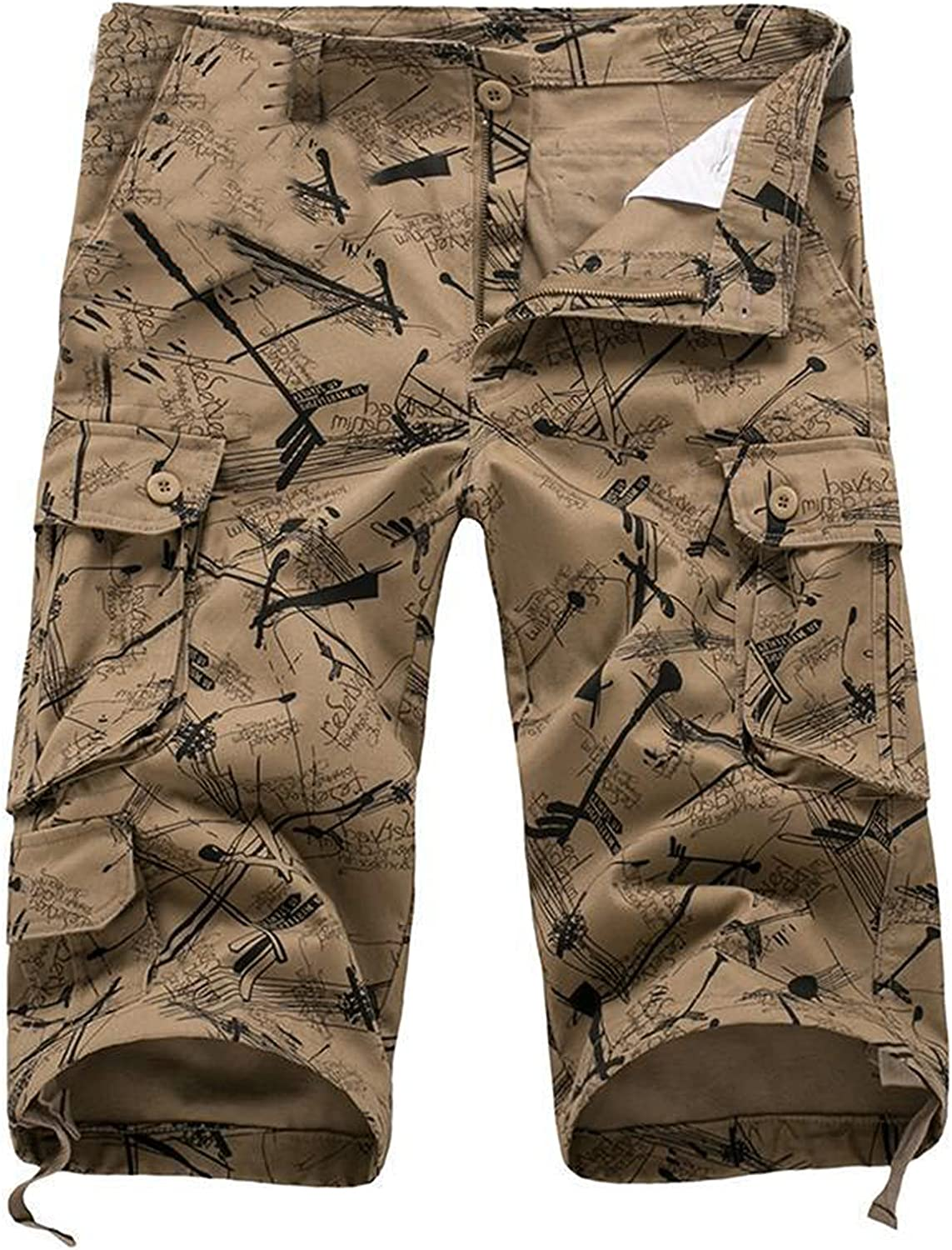 Mens Shorts Cargo Casual Belted Fashion and Leisure Pants With Multi-pocket Summer Cool Straight Overalls Gym Street