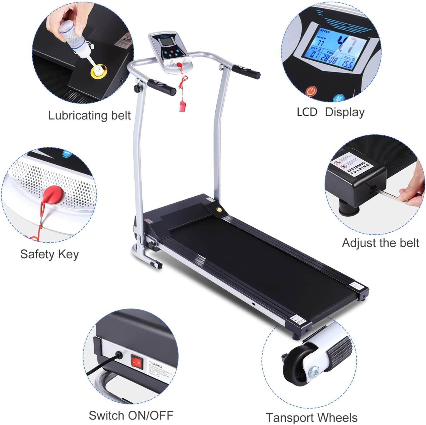 fannay Folding Treadmill for Home Portable Electric Treadmill Exercise Machine with LCD Display /& Pulse Grip Running Walking Jogging Exercise Fitness Machine for Home Gym Easy Assemble