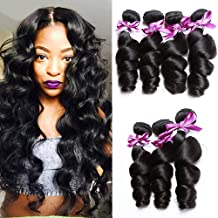 Perstar Loose Wave Hair Bundles Virgin Remy Human Hair Weave Bundles Loose Wave 4 Bundles Unprocessed 8A Loose Curly Weave Brazilian Virgin Human Hair Extensions Natural Black(18 20 22 24)