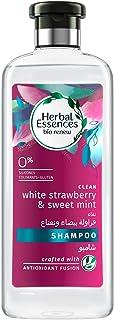 شامبو هيربل اسنسز بيو للتجديد والتنظيف برائحة الفراولة البيضاء والنعناع الحلو 400 مل