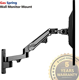 """IMtKotW Single Arm Wall Mount LCD Monitor Stand, Height Adjustable Articulating Gas Spring Arm, Fits One Screen VESA up to 27"""" - Holds up to 15.4lbs (IMTMR-W01)"""