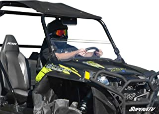 SuperATV Heavy Duty Clear Half Windshield for Polaris RZR 800/800 S / 800 4 (2008-2014) - Installs in 5 Minutes!