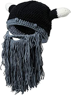 Viking Beanie Beard Horn Hat Handmade Knit Winter Warm Cap Men Women Birthday Cool Funny Gag Party Xmas Gifts
