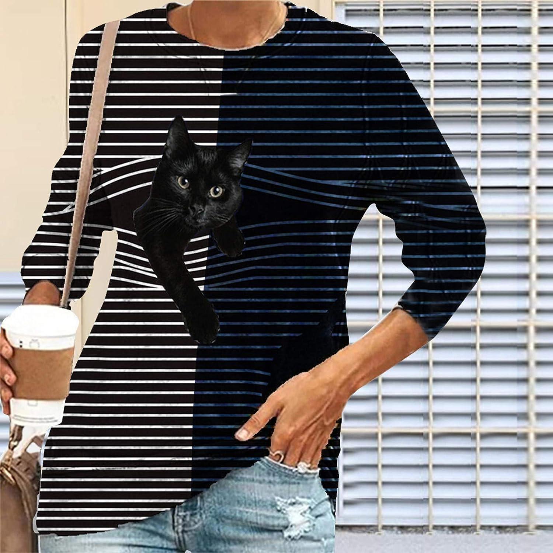 Damen Langarmshirt Sweatshirt mit Schwarze Katze Und Streifen Motiv Print Pullover Bluse L/ässig Locker Bequeme Streetwear Tops Fr/ühling Herbst Hoodies Rundhals Oberteile Irregul/är T-Shirt Pulli