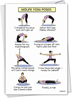 NobleWorks, Midlife Yoga Poses - Funny Happy Birthday Card for Women, Wife - Cartoon Notecard for Birthday Woman C7312BDG