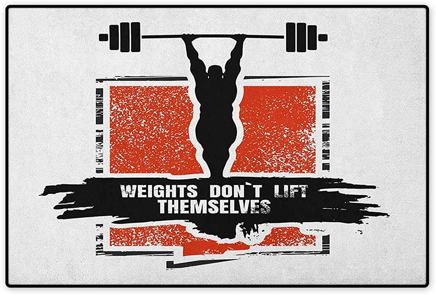 Fitness,Door Mat Increase,Bodybuilder and Huge Barbell Silhouettes Icon of Posing Athlete Weights Lift,Floor Mat Pattern,Red Black White,Size,32 x48  (W80cm x L120cm)