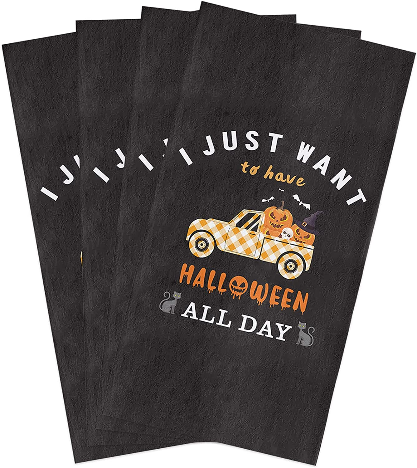 Halloween Kitchen Towels Set At the price Witch Towel Dish Skull Pumpkin Tampa Mall Hat