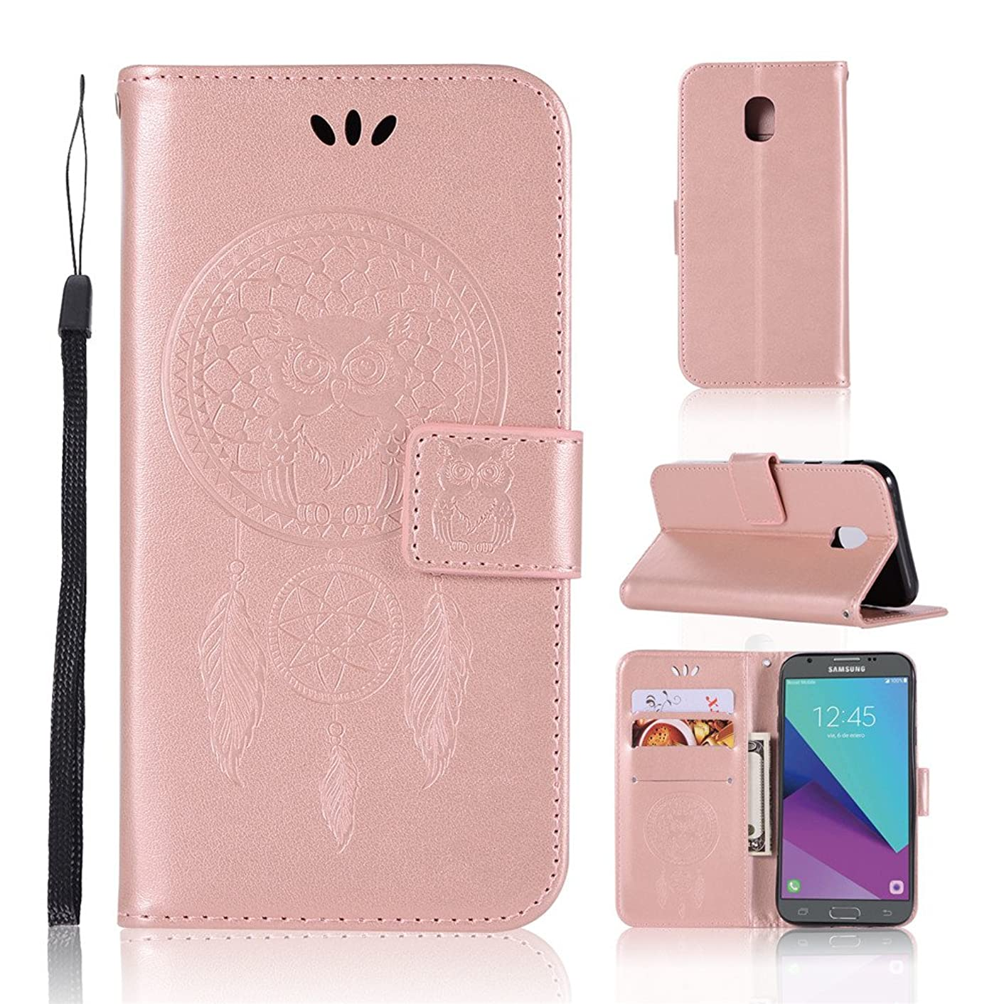 IVY Wallet Case Galaxy J7 Pro Flip Cover with Owl Imprint Technology and [Kickstand][Wrist Strap] for Samsung Galaxy J7 Pro SM-J730 2017 - Rose Gold