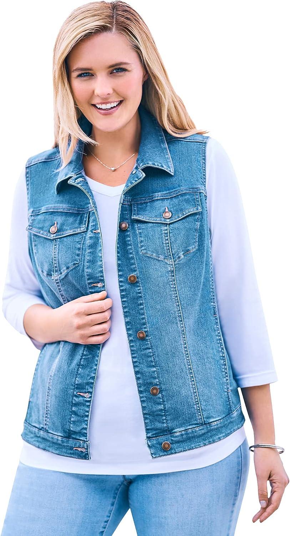 Woman Within Women's Plus Size Stretch Denim Vest