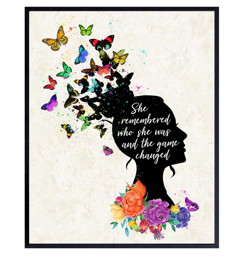 Inspirational Wall Art Decor - Positive Quote Home Decoration - Motivational Encouragement Gifts for Women -8x10 Poster for Girls or Teens Bedroom, Living Room, Bathroom, Office - Floral Butterflies