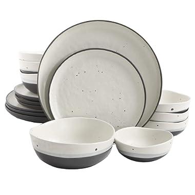 Gibson Elite Rhinebeck 16 Piece Double Bowl Dinnerware Set, White/Black
