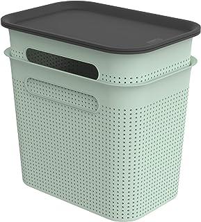 Rotho Brisen Jeu de 2 Boîtes de Rangement 7L avec Couvercle, Plastique (PP Recyclé), Turquoise, 2X7L (26,6 X 18,5 X 26,0 cm)