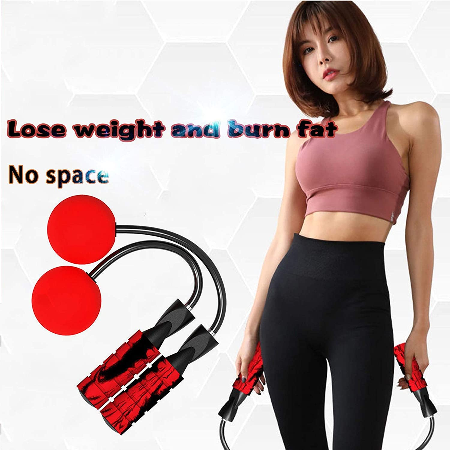 Boxing-Updated Longer Rope Version Indoor Cordless Jump Rope Weighted Ropeless Jump Rope With Double Handles-Long or Short Adjustable Bod Ropes for Indoor Exercise Fitness Workout Crossfit Speed Training