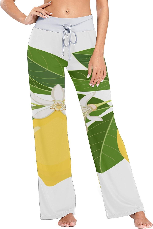 Women's low-pricing Novelty Pajama Bottoms Bright Fruit Washington Mall W Fresh Lemon Yellow