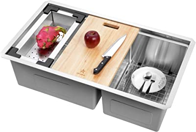 STARSTAR Workstation Ledge Undermount Double Bowl 304 Stainless Steel Kitchen Sink, With Two Grids, Colander, Cutting Board, Two Strainers (32.75 x 19 x 10 60/40)