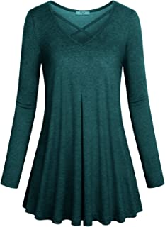 Cestyle Womens Casual Basic Long Sleeve Flare Tunic Tops Loose Pleated Blouse Fall